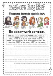 English Worksheet: Describin People Appearance - physical appearance 2/3