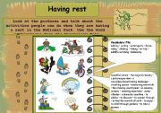 English worksheet: Having a rest in the Nationap Park.
