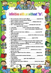 English worksheet: INFINITIVE WITH OR WITHOUT