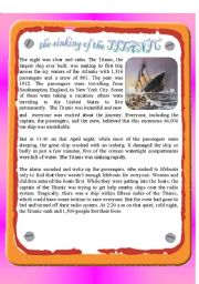 English Worksheets: Reading - the Sinking of the Titanic