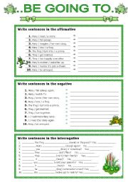 English Worksheet: be going to - exercises
