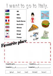 English Worksheet: I want to go to Italy
