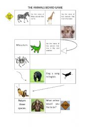 English worksheet: The animals board game