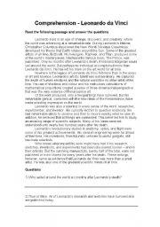 English Worksheet: Leonardo da Vinci - Comprehension