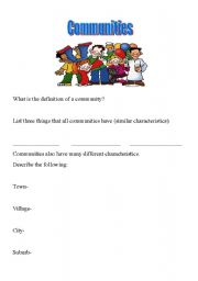 English Worksheets: Communities