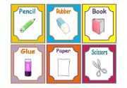 English Worksheets: SCHOOL MATERIALS FLASHCARDS