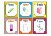 English Worksheets: SCHOOL MATERIALS FLASHCARDS