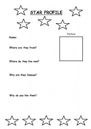 English Worksheets: Famous Person Star Profile