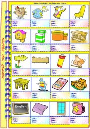 English Worksheets: Shapes and Colours of Objects with Answer Key **editable
