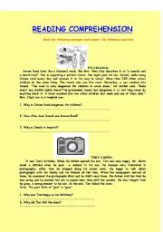 English Worksheets: Reading Comprehension ( Answers are Included )