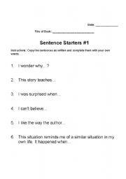 English worksheets: Reading Response Sentence Starters