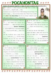 English Worksheets: Fairy Tales/ Stories (17) - POCAHONTAS + possessive adjectives