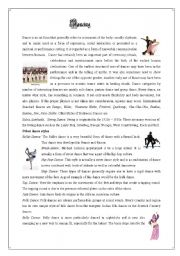English Worksheets: dancing reading comprehension with key