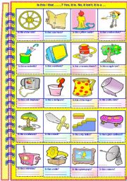English Worksheet: Is this ...? Yes, it is. No, it isn�t. It is.....(NO GUIDANCE - with answer key)**fully editable