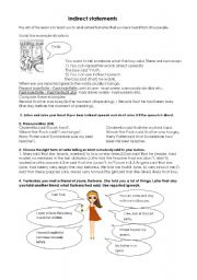 English Worksheets: Indirect statements