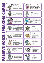 English Worksheet: SET 1: Passive voice / tenses / adverbs of frequency / irregular verbs / modals - worksheet OR speaking activity (purple series)