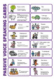 English Worksheets: SET 2: Passive voice / tenses / adverbs of frequency / irregular verbs / modals - worksheet OR speaking activity (purple series)