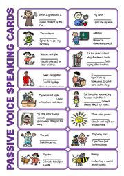 English Worksheets: SET 3: Passive voice / tenses / adverbs of frequency / irregular verbs / modals - worksheet OR speaking activity (purple series)