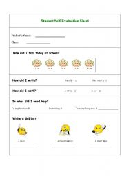 English Worksheets: Student�s Self Evaluation Sheet