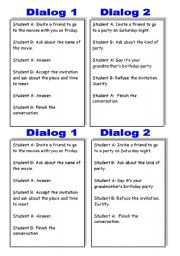 English Worksheets: Cued dialogs to practice INVITING PEOPLE and REFUSING/ACCEPTING INVITATIONS!