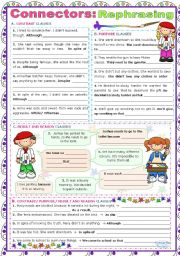 English Worksheet: Connectors of Reason & Result, Purpose & Contrast  -  Rephrasing