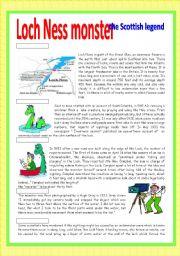 English Worksheet:  Loch Ness monster: the Scottish legend