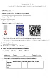English Worksheet: Webquest Prohibition in the USA