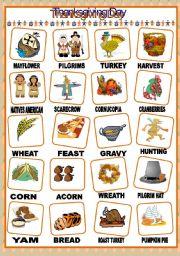 English Worksheet: THANKSGIVING DAY PICTIONARY
