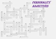 Personality adjectives crossword   (fully editable with key)