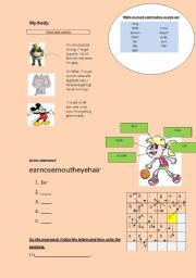 English Worksheets: My body (face)
