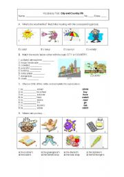English Worksheet: City vs country life