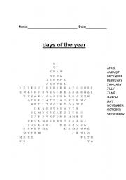 English Worksheets: days of year