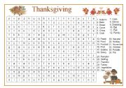 English Worksheet: Thanksgiving Wordsearch