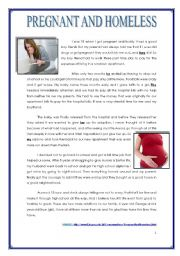 English Worksheets: PREGNANT AND HOMELESS - TEENS� PROBLEMS