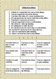 English Worksheet: Obligation Bingo
