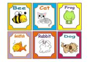 English Worksheet: ANIMALS FLASHCARDS 1/3 (PETS AND FARM) 18 CARDS