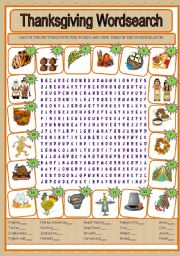 English Worksheet: THANKSGIVING DAY WORDSEARCH