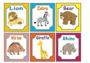 ANIMALS FLASHCARDS 2/3  WILD ANIMALS (24 CARDS)