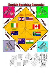 image about Printable Fortune Teller identified as ENGLISH Talking Nations around the world II FORTUNE TELLER +BW+ Completely