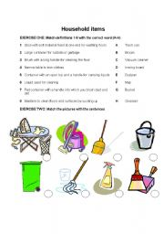 English worksheet: HOUSEHOLD CLEANING AND LAUNDRY | Domestic ...