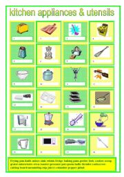 English Worksheet: Kitchen appliances & utensils