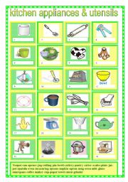 English Worksheet: kitchen appliances and utensils 2
