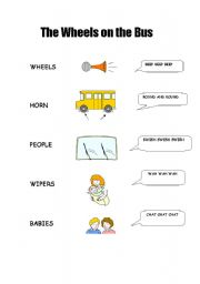 English Worksheet: The wheels on the bus - matching activity