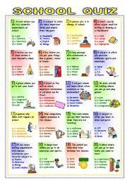 English Worksheet: School Quiz