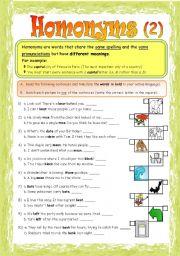 English Worksheets: Homonyms - Part 2/2 **fully editable
