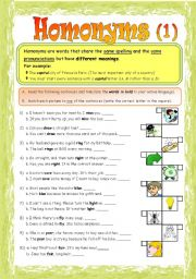Printables Homonyms Worksheets english teaching worksheets homonyms part 12 fully editable
