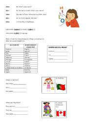 English Worksheet: Countries, Nationalities and Languages - Elementary