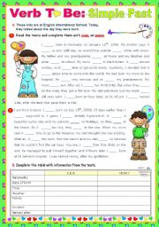 English Worksheet: The Day I Was Born -  Simple Past of V. To Be  -  Reading + Writing + Grammar  (90-minute class)