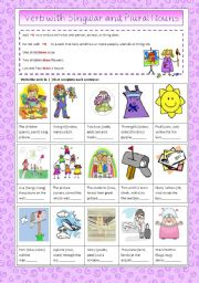 English Worksheets: Verbs with Singular and Plural Nouns