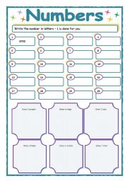 english worksheets numbers writing the numbers 1 20 and follow up drawing. Black Bedroom Furniture Sets. Home Design Ideas